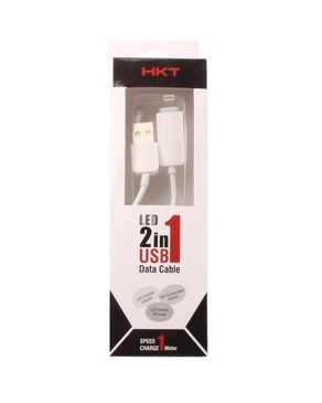 LED 2-In-1 Data Cable - White