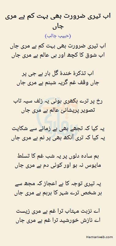 Ab Teri Zaroorat Bhi Bohat Kam Hai Meri Jaan