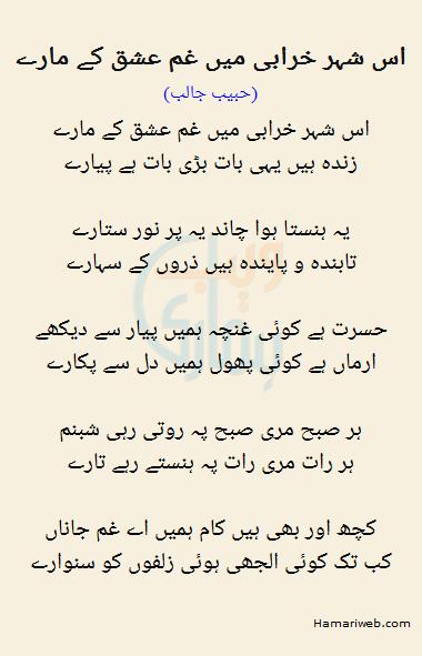 Is Shehar Kharabi Mein Gham Ishq Ke Maaray