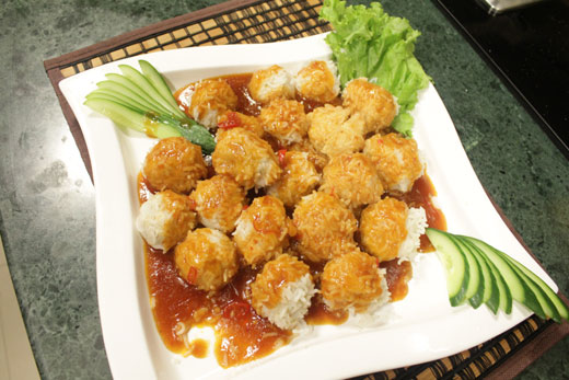 Chicken Rice Balls With Sauce Recipe by Chef Zakir